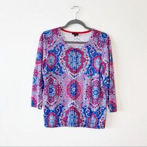 Talbots Purple Moroccan Print Cardigan Sweater LP